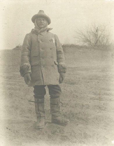 Portrait of Stein in expedition gear and felt boots.