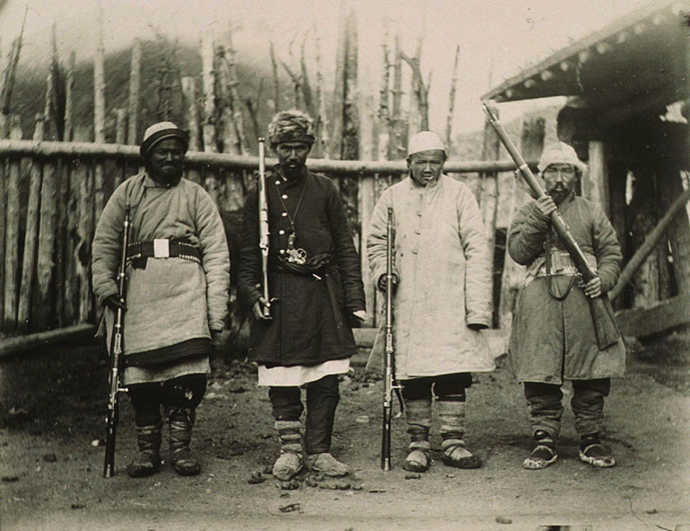 Masib, Ahmad, Haji, Abdullah with Kara-khoja outlaws at Panopa shelter huts.