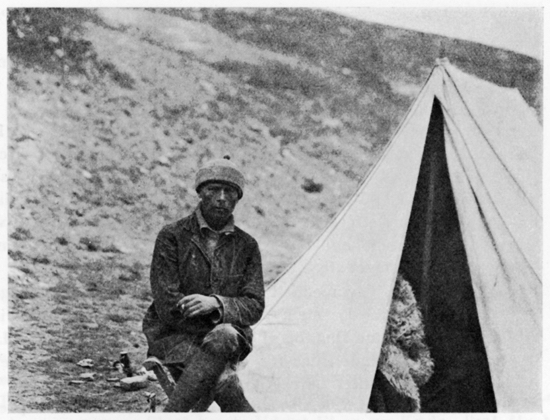 Arthur Bollerup Sørensen in front of a tent on his third expedition to Tibet (1921-22).